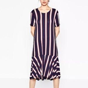 NWT Zara Trafaluc Striped Frill Bottom Midi Dress